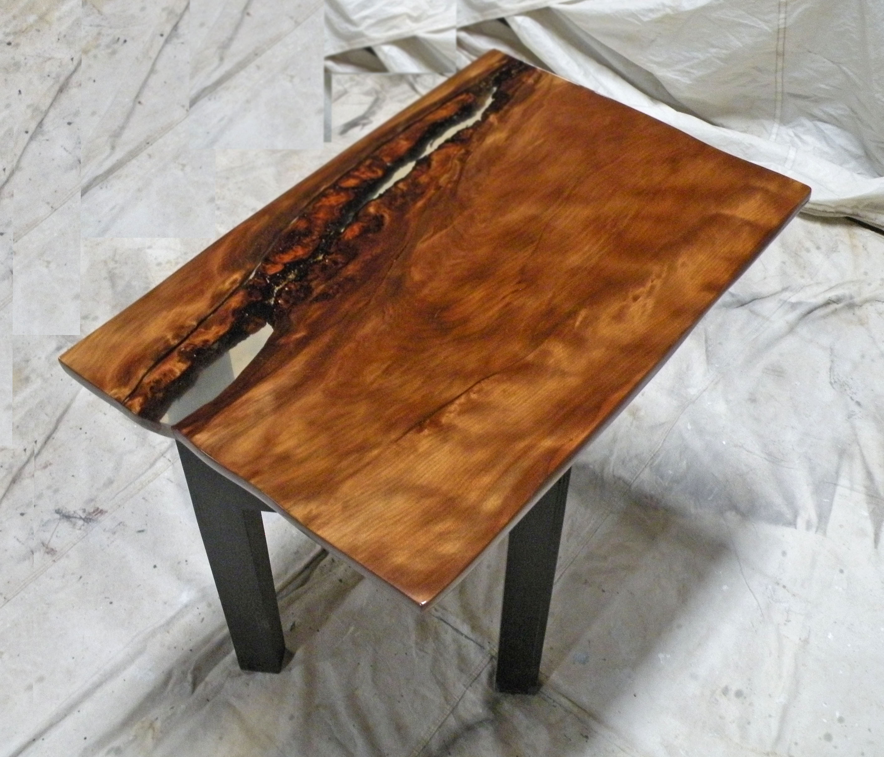 2 41 Sofa Or Coffee Table 24 X 36 Strong Chatoyance With Clear Epoxy Infill High Drama Ancientwood Ltd